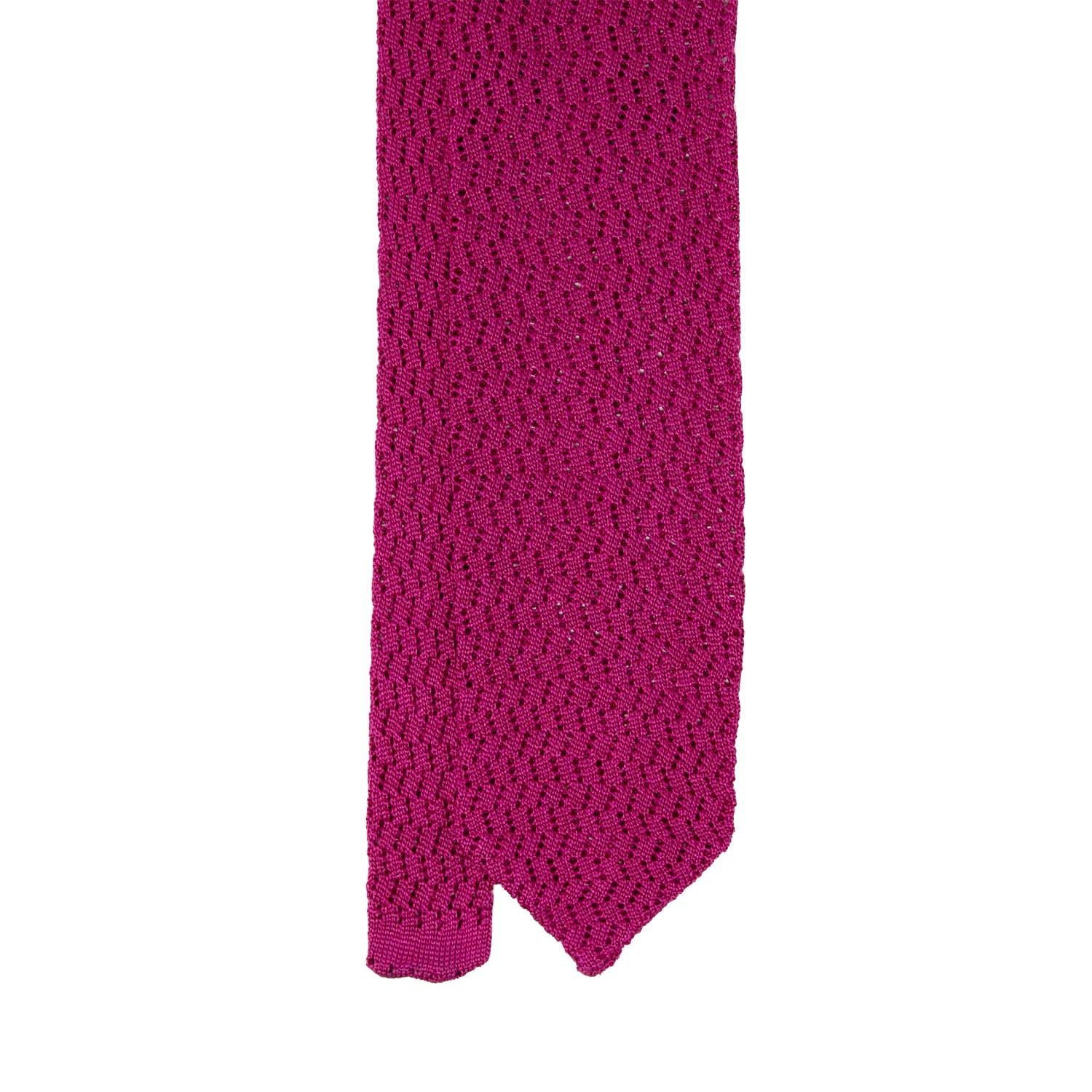 serà fine silk - Hot Pink Zig Zag V Point Knitted Tie