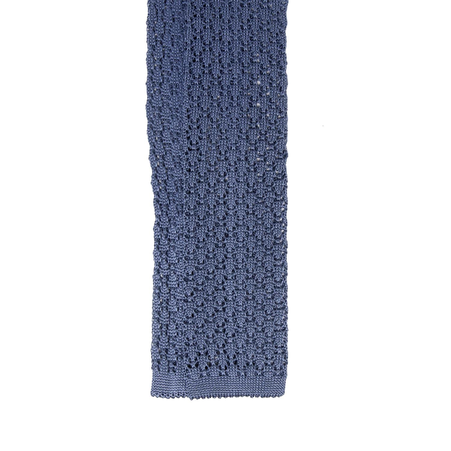 serafinesilk - Dust blue silk knitted tie