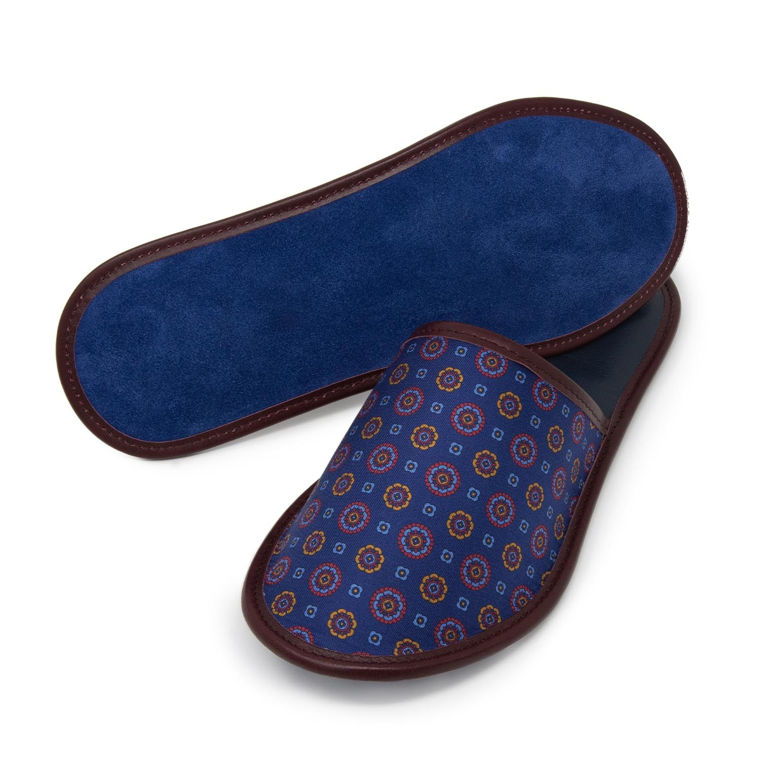 Serà fine silk - Blue Silk & Leather Slippers