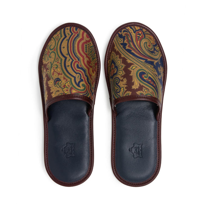 Serà fine silk - Burgundy Paisley Silk & Leather Slipper