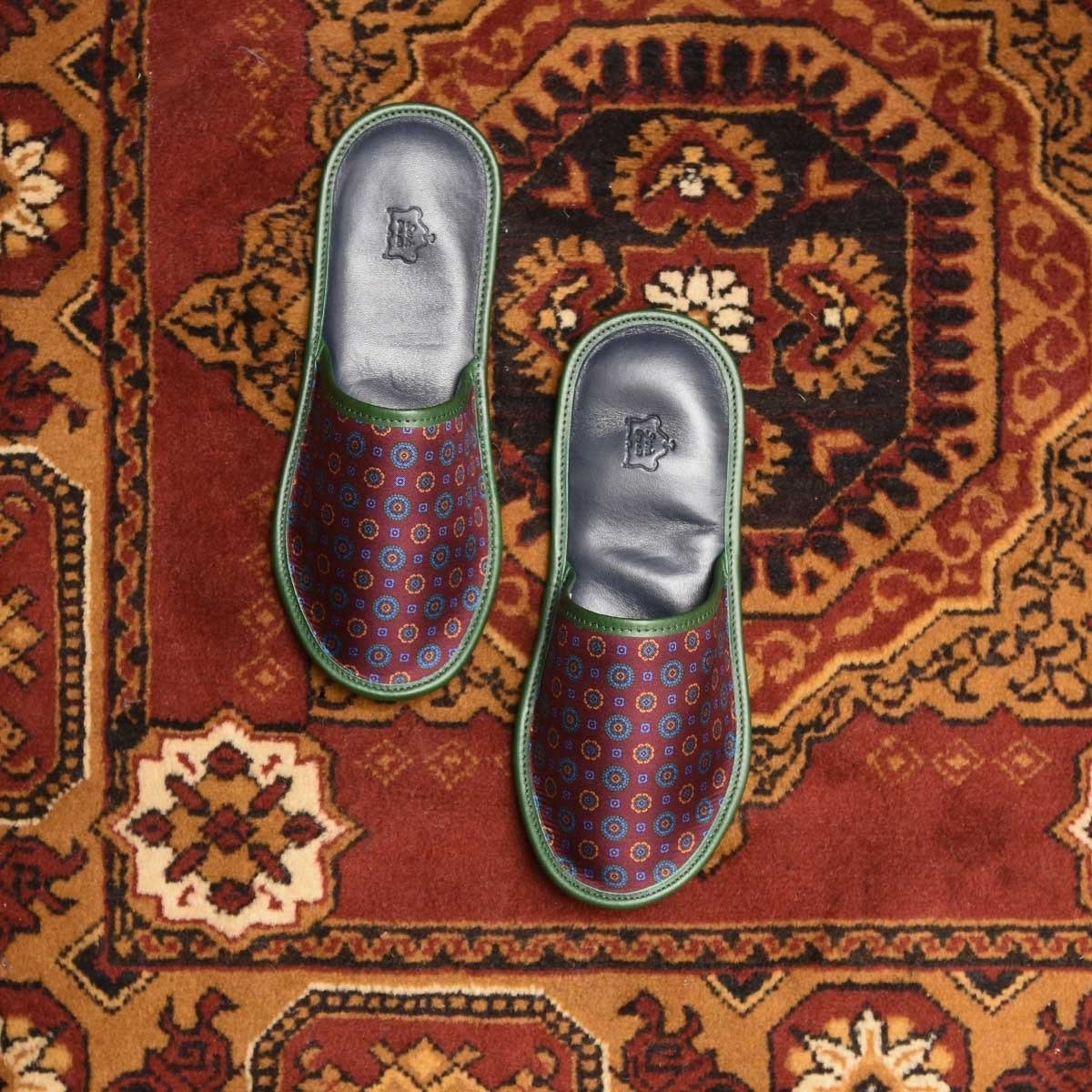 Serà fine silk - Burgundy Silk & Leather Slippers