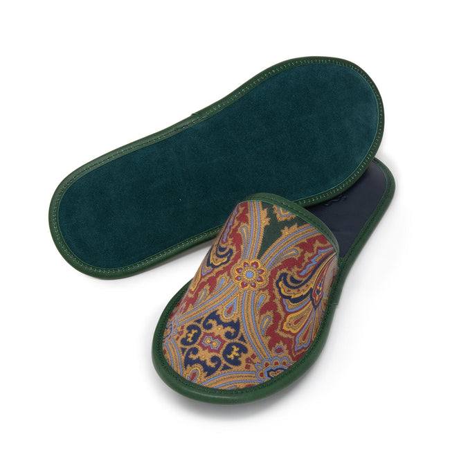 Serà fine silk - Green Paisley Silk & Leather Slippers