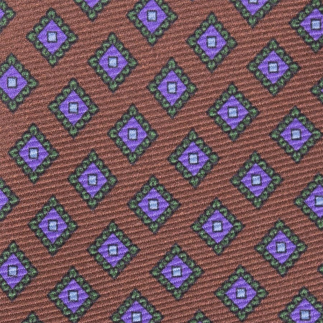 Serà fine silk - Brown with Purple Rombs Silk Tie