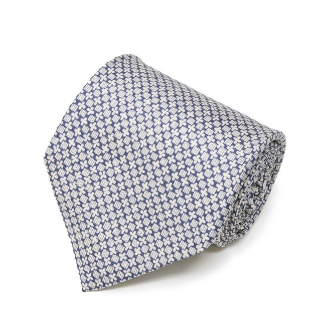 White with blue pattern Tie