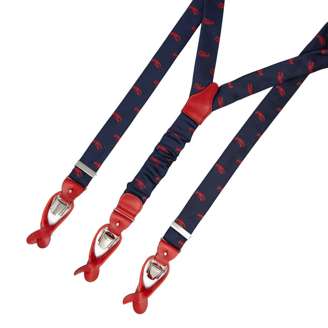 serà fine silk - Blue with Lobsters Jacquard Silk Suspenders
