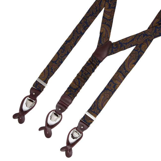 serà fine silk - Blue and Gold Paisley Wool Suspenders