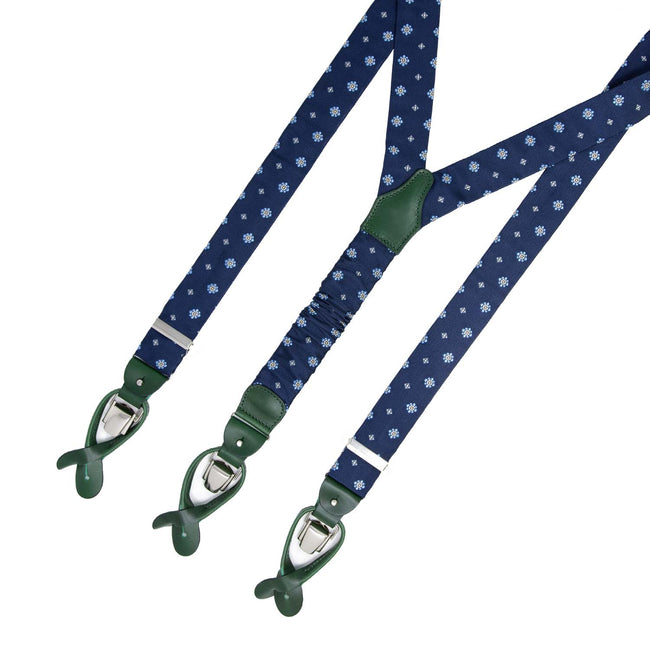 Blue flowers Pattern Jacquard Silk Suspenders