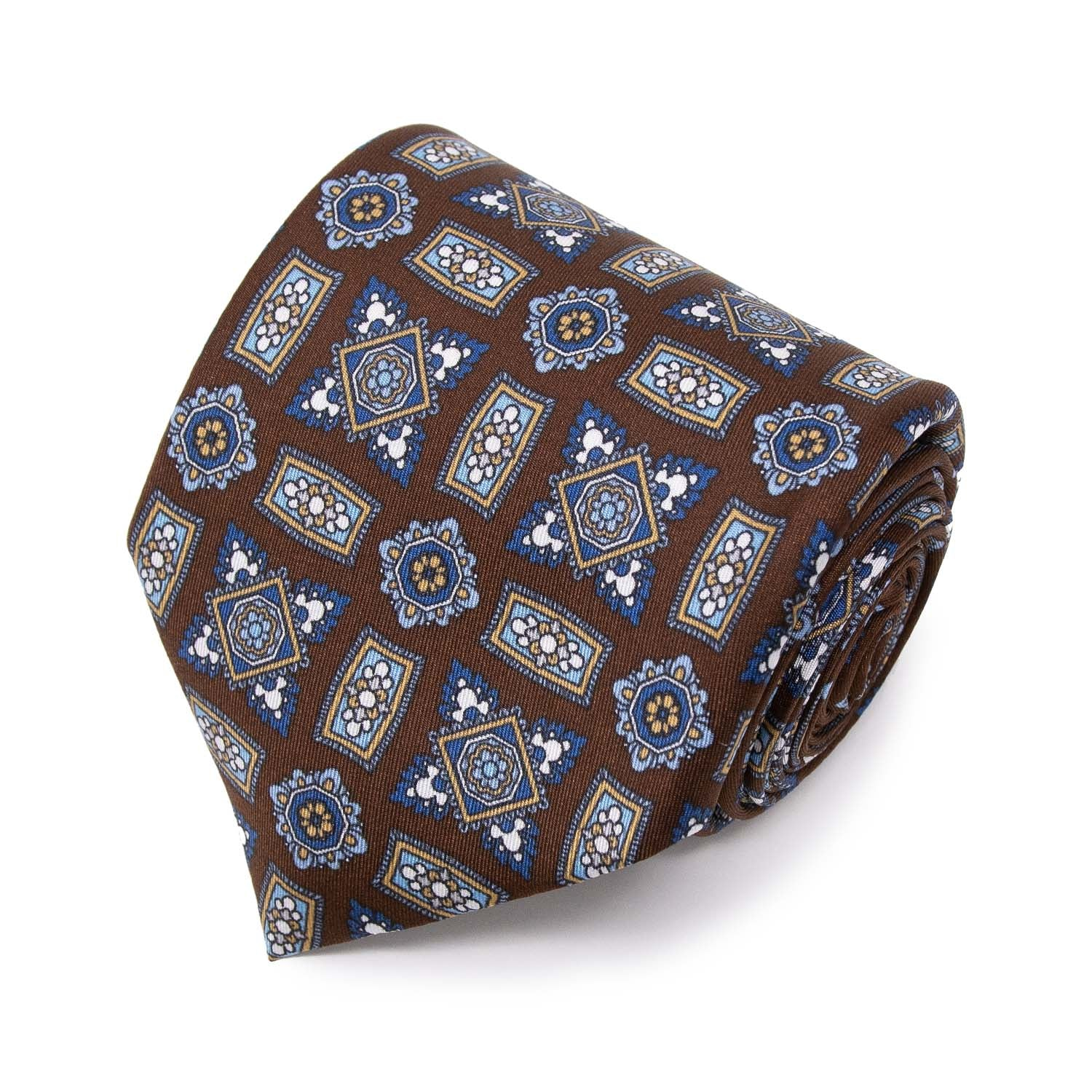 serà fine silk - Brown Square Medallions Pattern Silk Tie