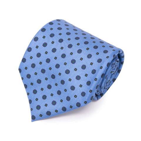 Light Blue with brown small flowers Silk Tie