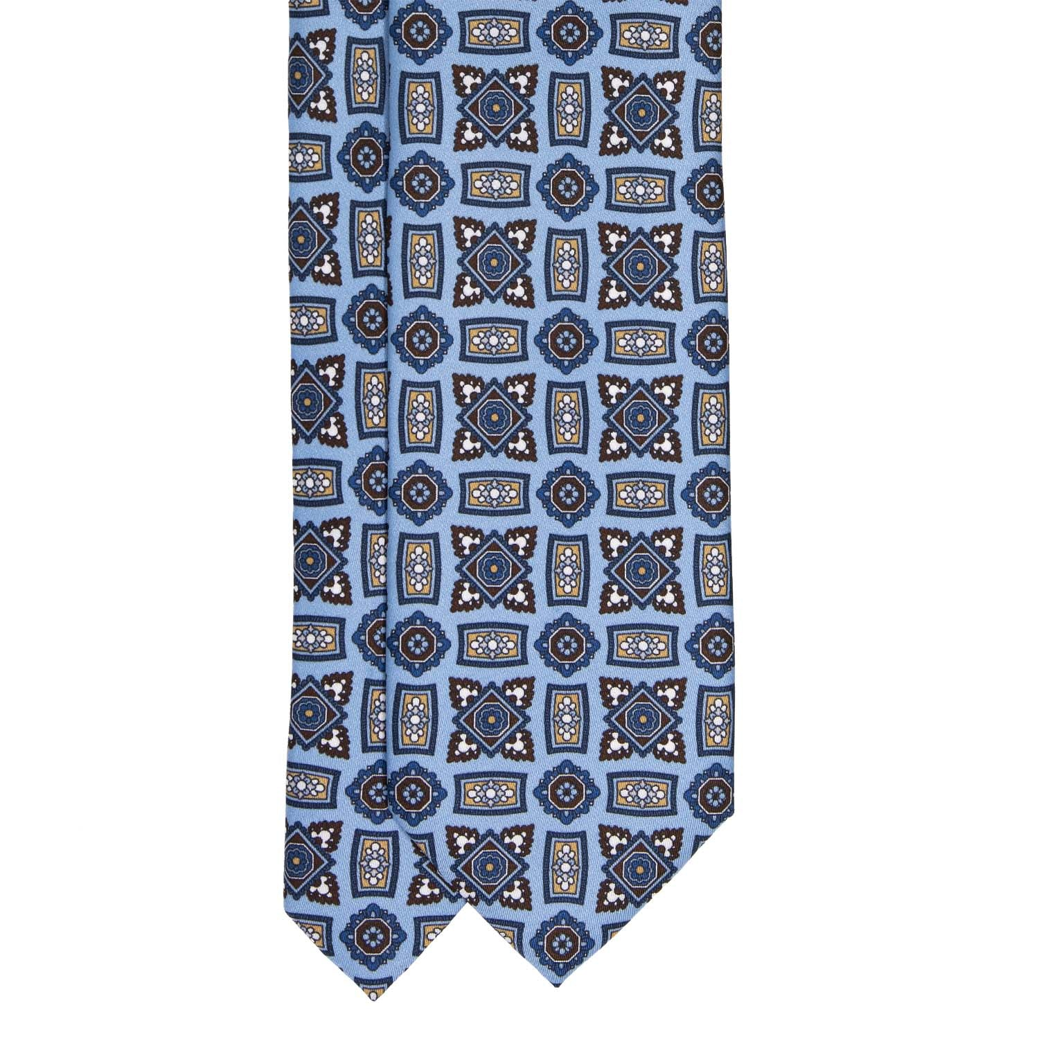 serà fine silk - Light Blue Square Medallions Pattern Silk Tie
