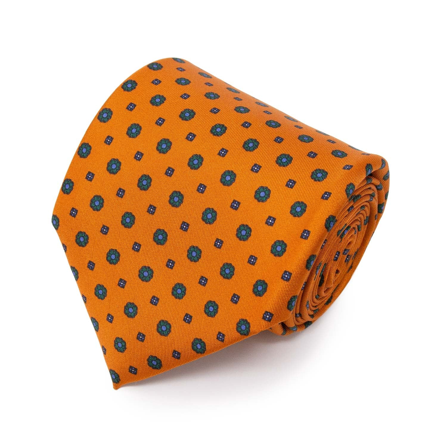 serà fine silk - Orange with small flowers Pattern Silk Tie