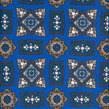 serà fine silk - Royal Blue Square Medallions Pattern Silk Tie