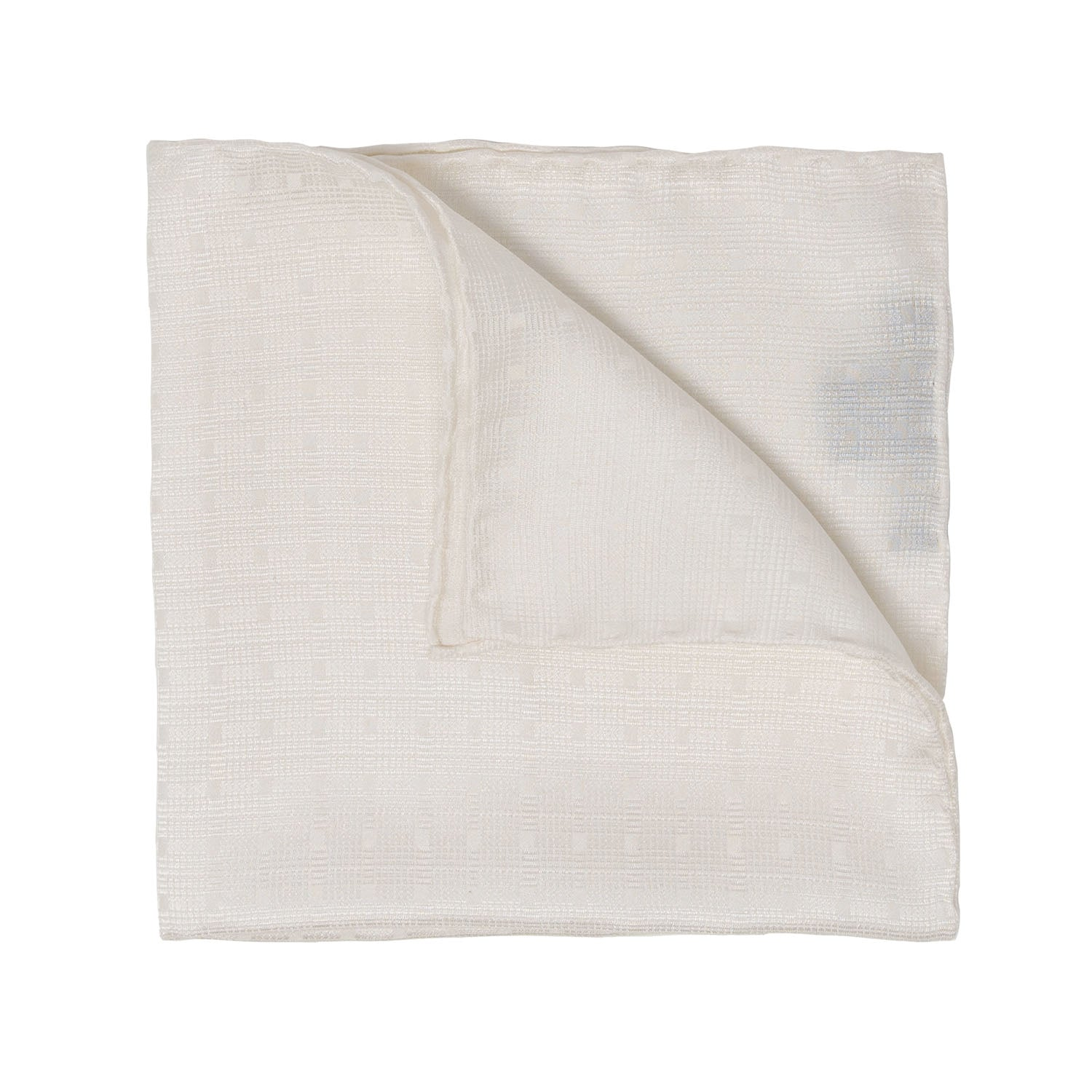 serà fine silk - White Textured Silk Pocket Square