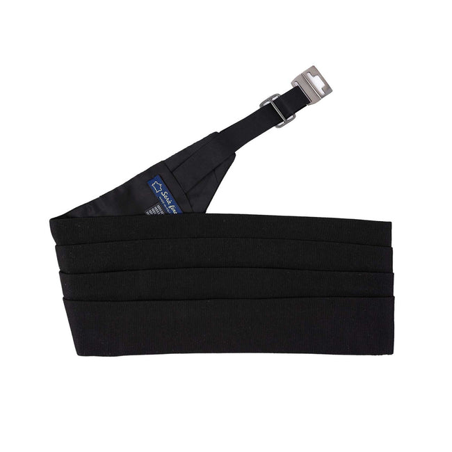 Black Grosgrain Silk 4 Pleat Cummerbund - serafinesilk