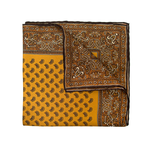 Brown with Paisley Pattern Silk Tie
