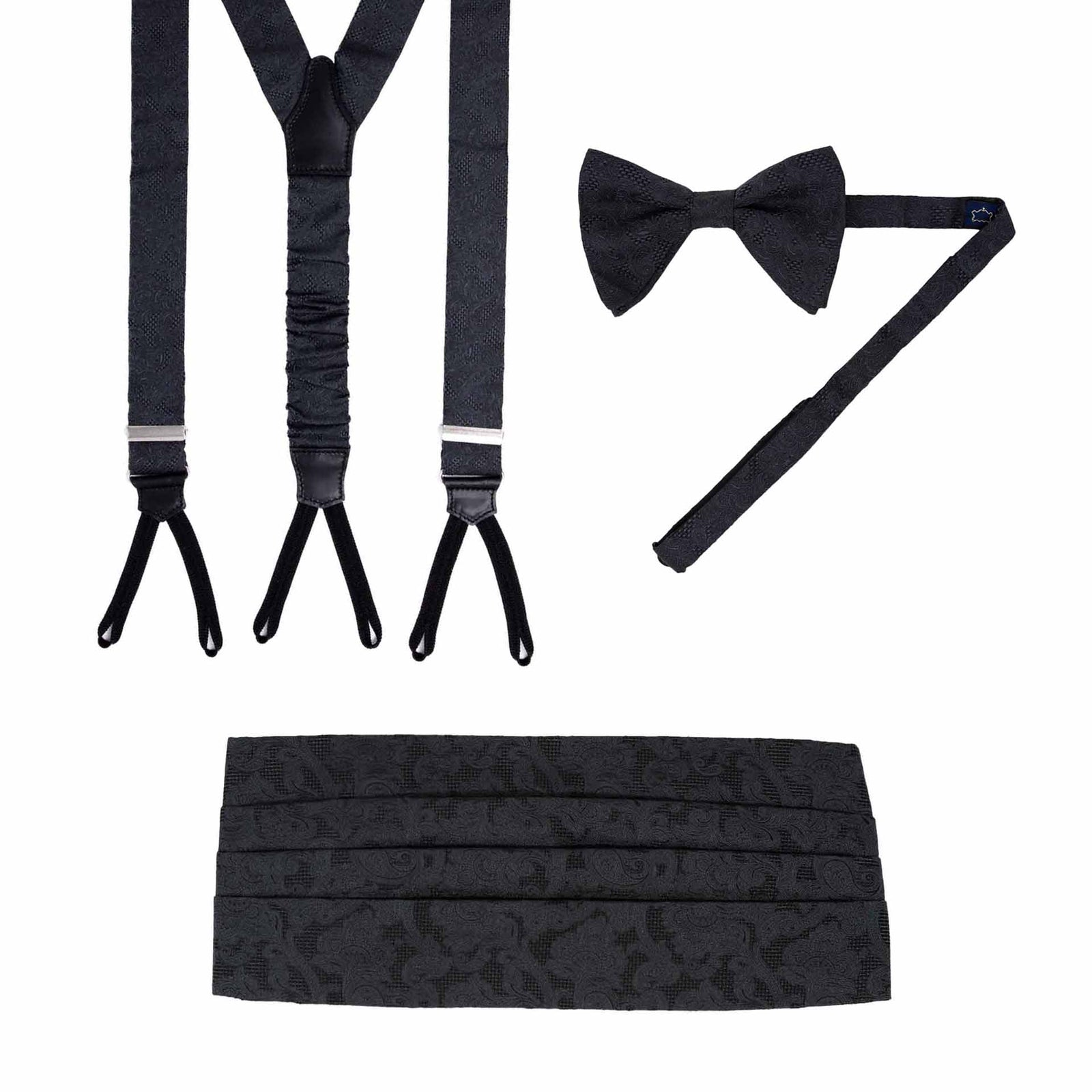 Suspenders, Pre-Tied Bow-tie and Cummerbund Black Jacquard Silk Set - serafinesilk