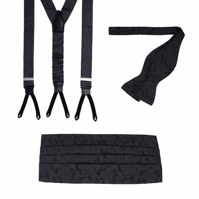 Suspenders, Self-Tie Bow-tie and Cummerbund Black Jacquard Silk Set - serafinesilk