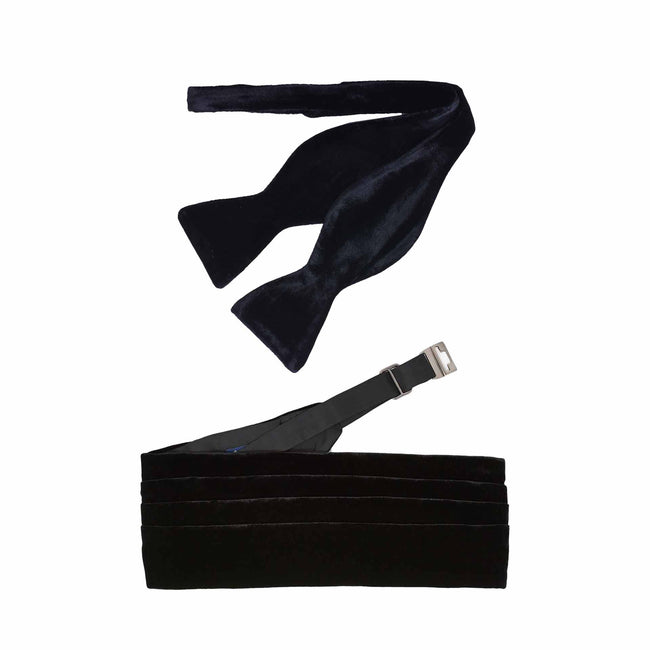 Self-Tie Bow-tie and Cummerbund Black Velvet Set
