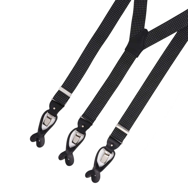 Black with Polka Dots Elastic Suspenders - serafinesilk