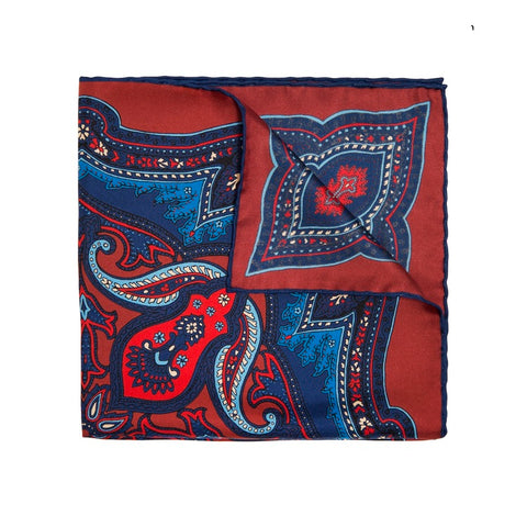 Red/Blue Silk Pattern Bow Tie