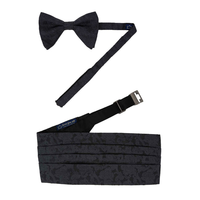Pre-Tied Bow-tie and Cummerbund Black Jacquard Set