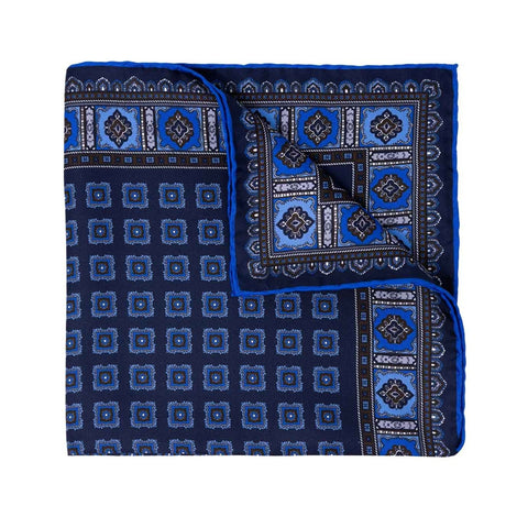 Royal Blue with Blue Squares Silk Suspenders
