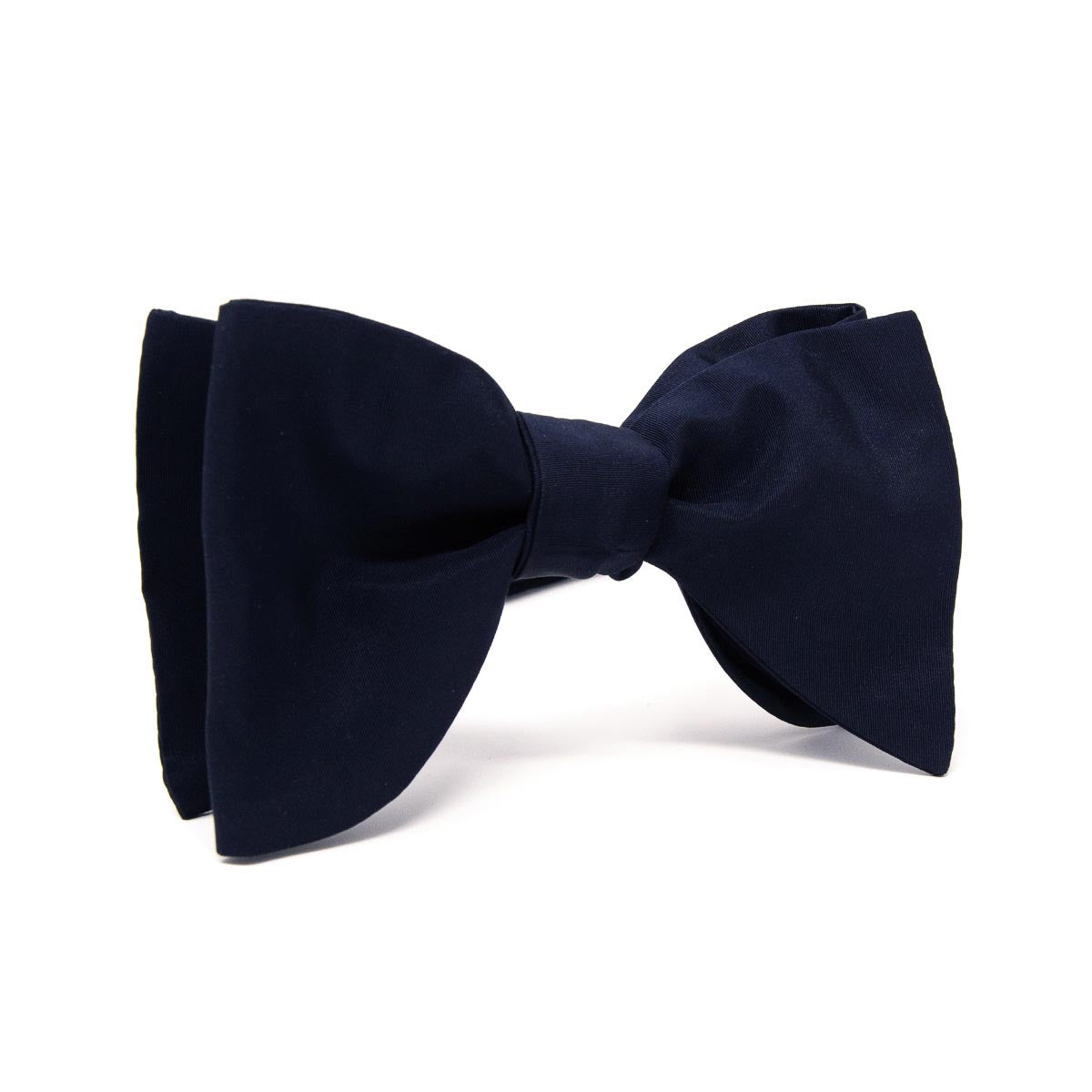 Dark Blue Self-Tied Silk Grosgrain Butterfly Bow Tie - serafinesilk