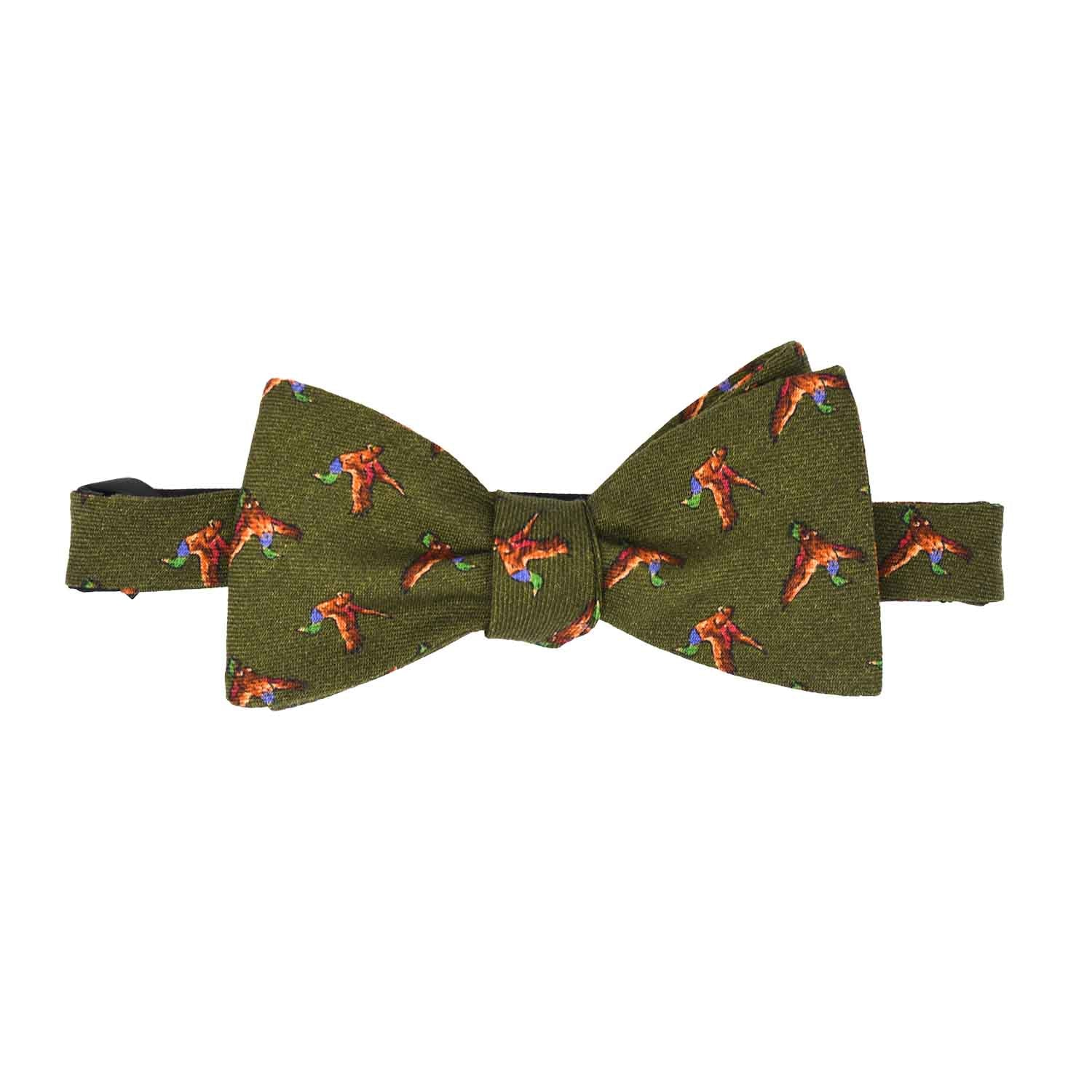 Green Birds Wool Pattern Bow Tie - serafinesilk
