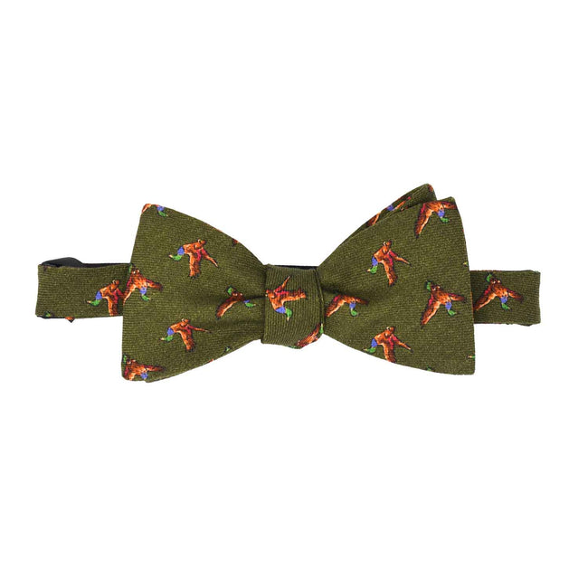Green Birds Self-Tie Wool Pattern Bow Tie - serafinesilk