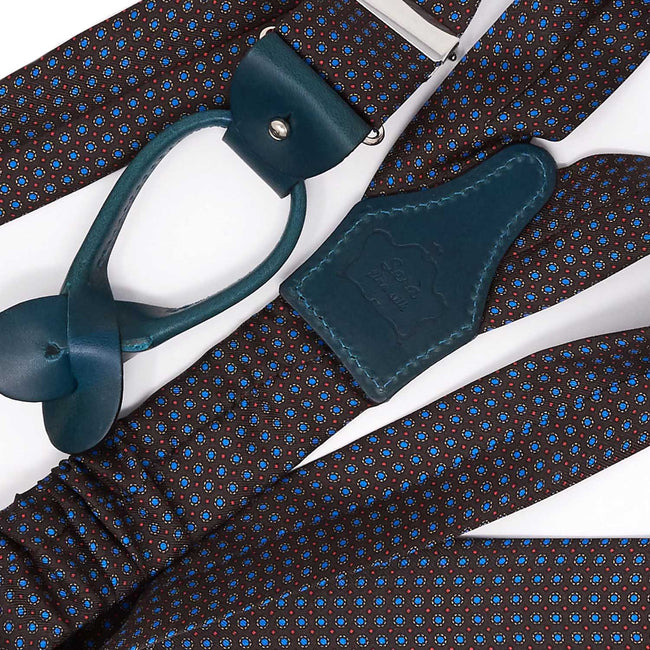 Brown with Light Blue Polka Dots Silk Suspenders - serafinesilk