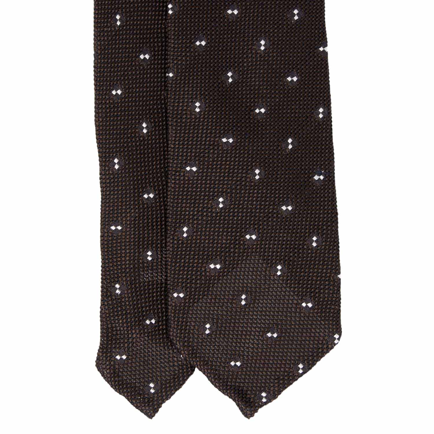 Brown with Dots Grenadine Silk Tie - serafinesilk