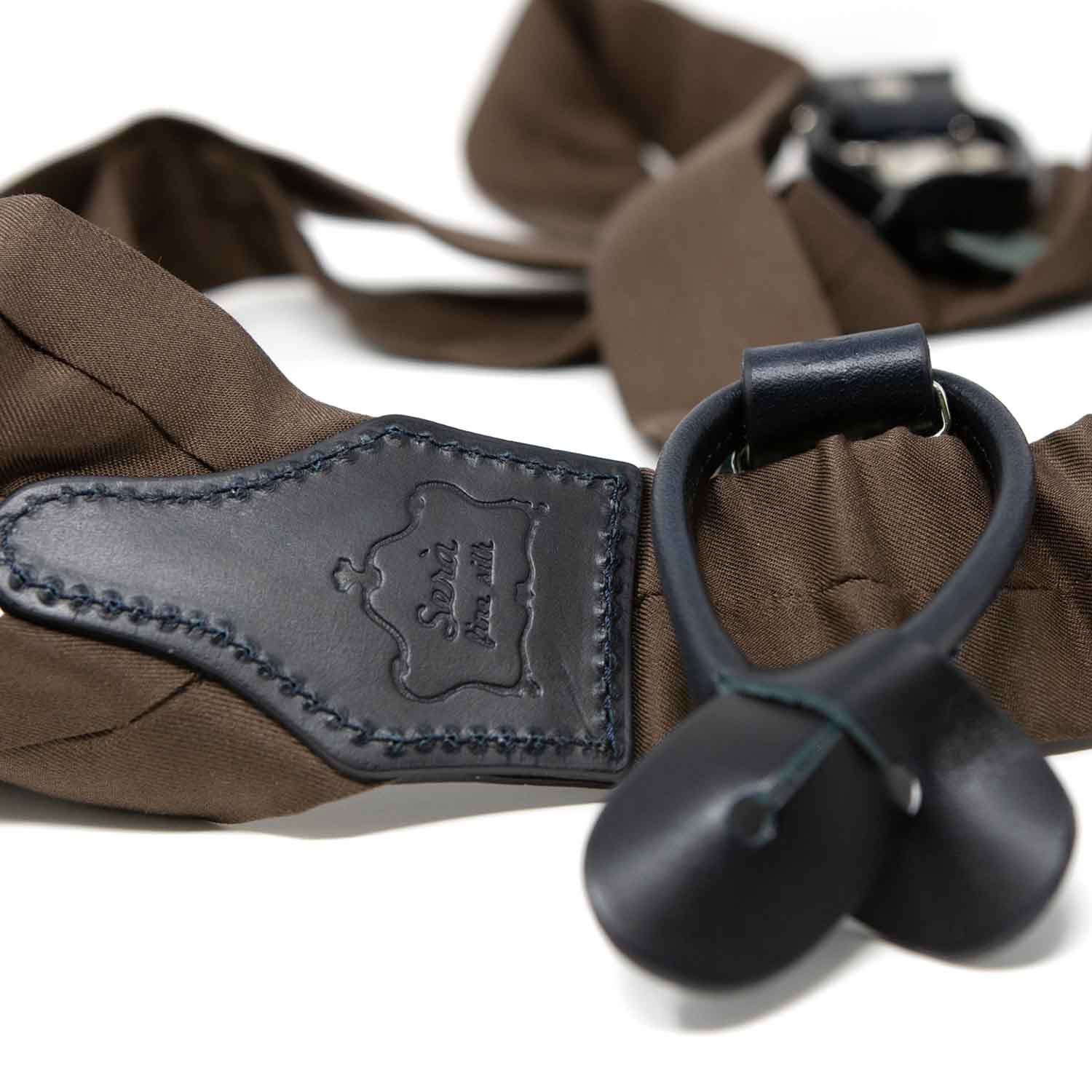 Brown with Navy Blue Leather Silk Suspenders - serafinesilk