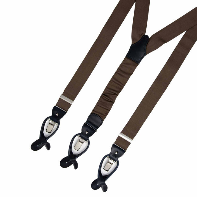 Brown with Navy Blue Leather Silk Suspenders