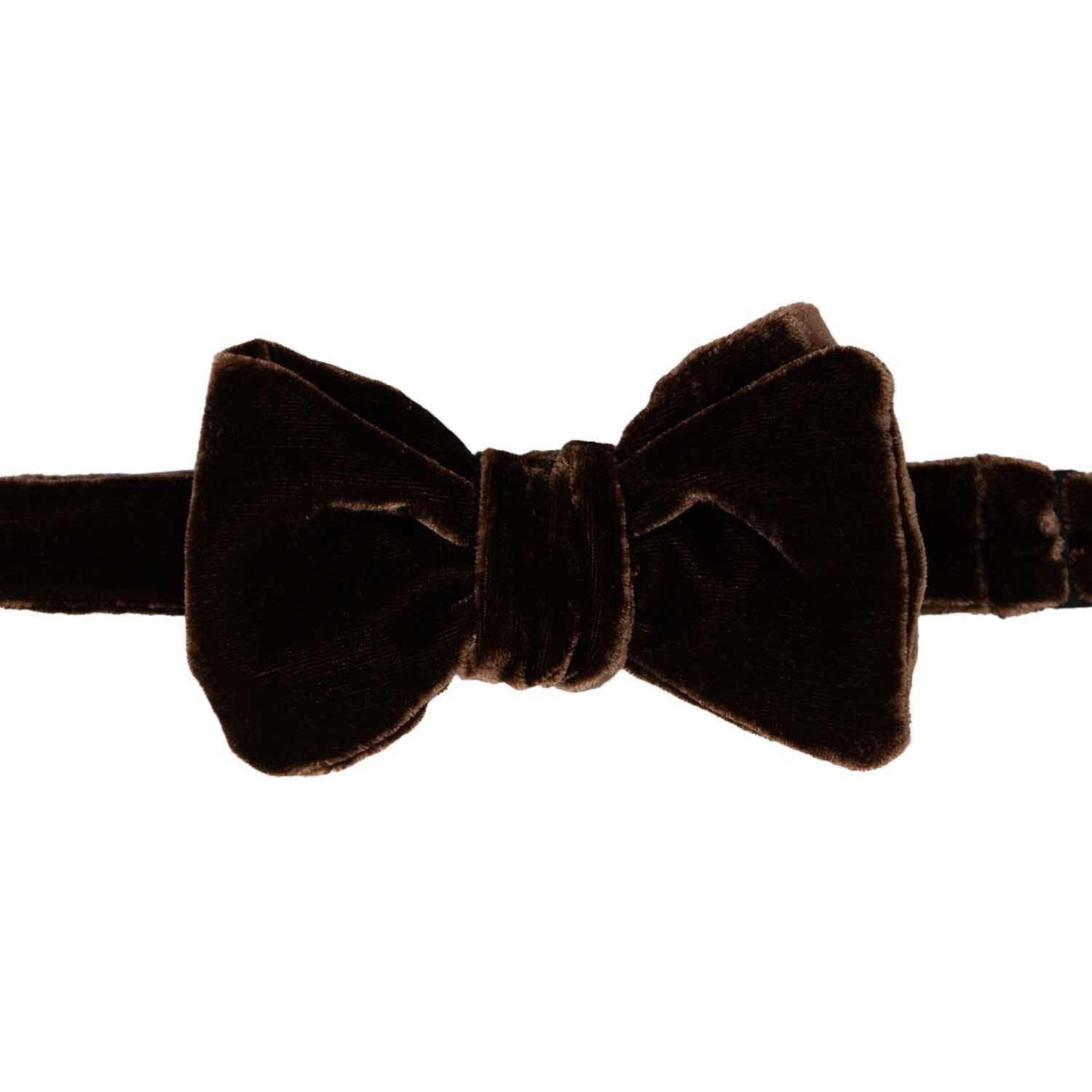 Brown Self-tie Velvet Bow Tie - serafinesilk