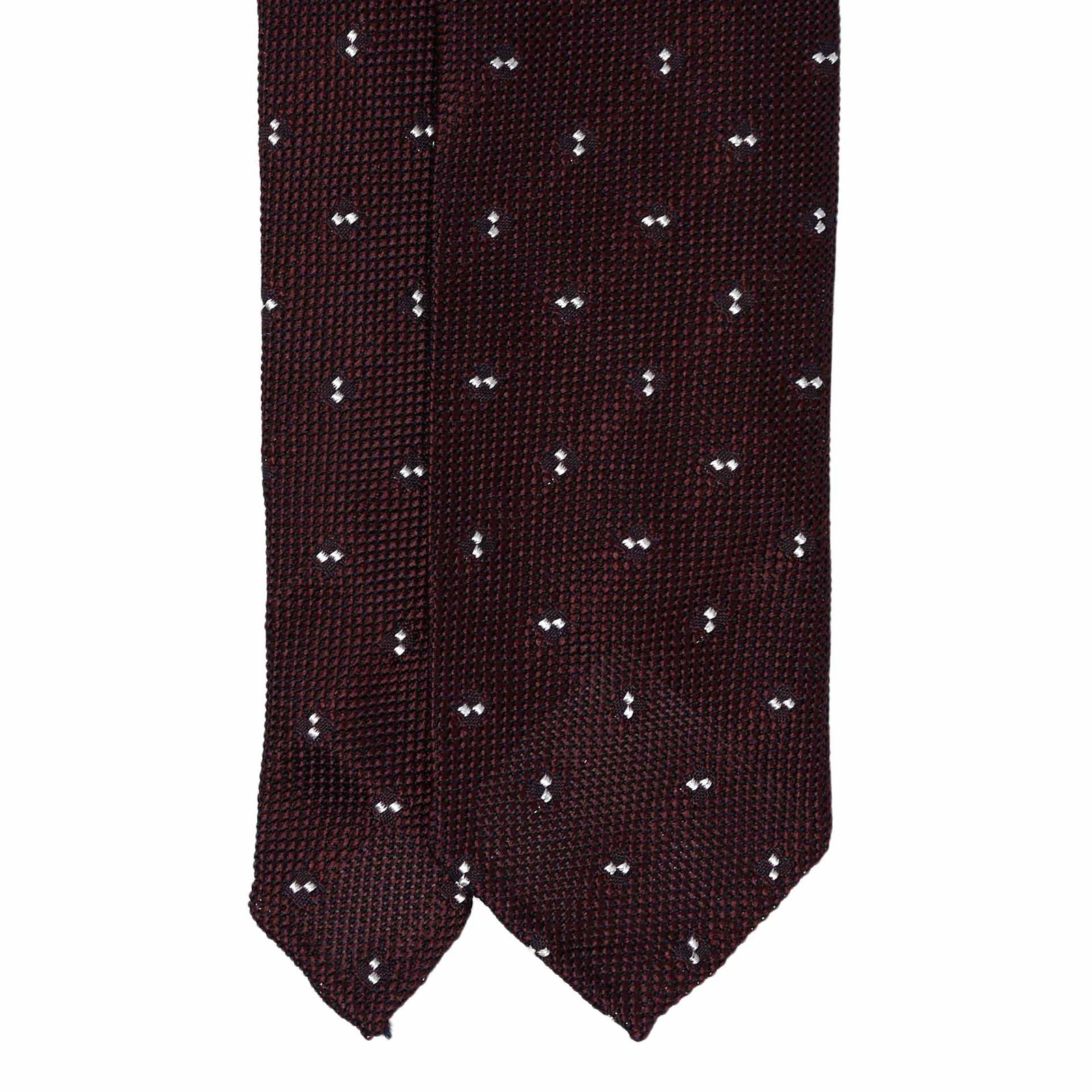 Burgundy with Dots Grenadine Silk Tie - serafinesilk