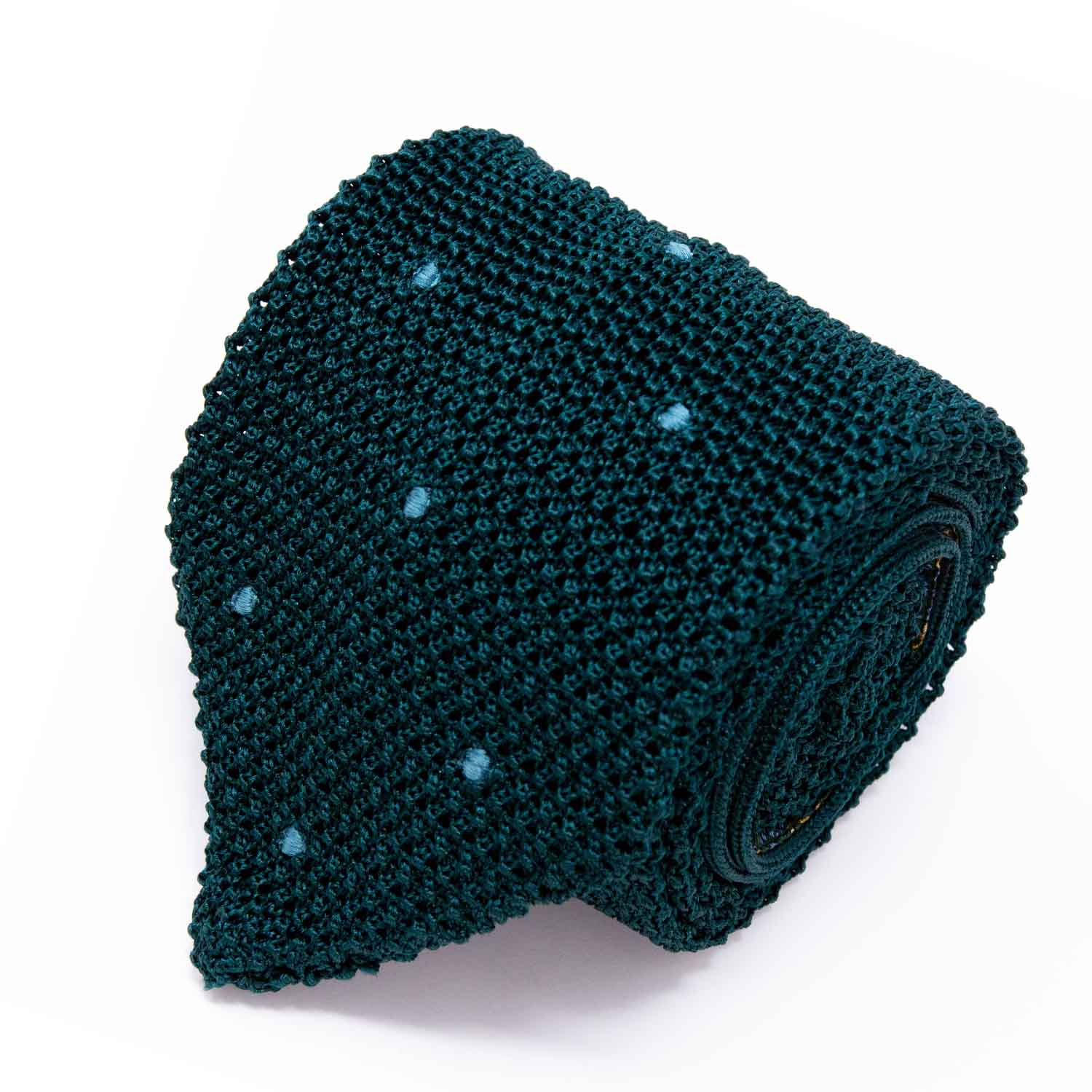 Forest Green and Light Green Polka Dots Zig Zag V Point Knitted Tie - serafinesilk