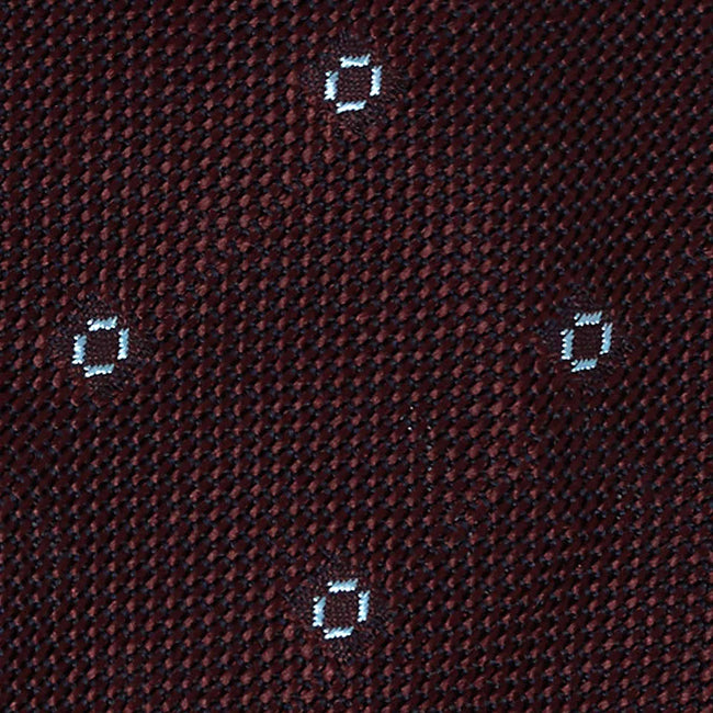 Burgundy with Light Blue Dots Grenadine Silk Tie - serafinesilk