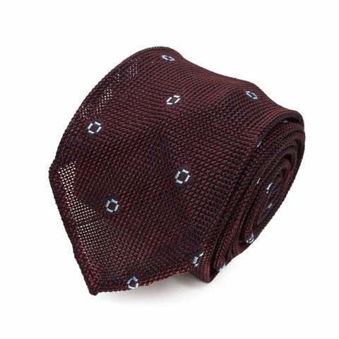 Navy Blue with Light Blue Dots Grenadine Silk Tie