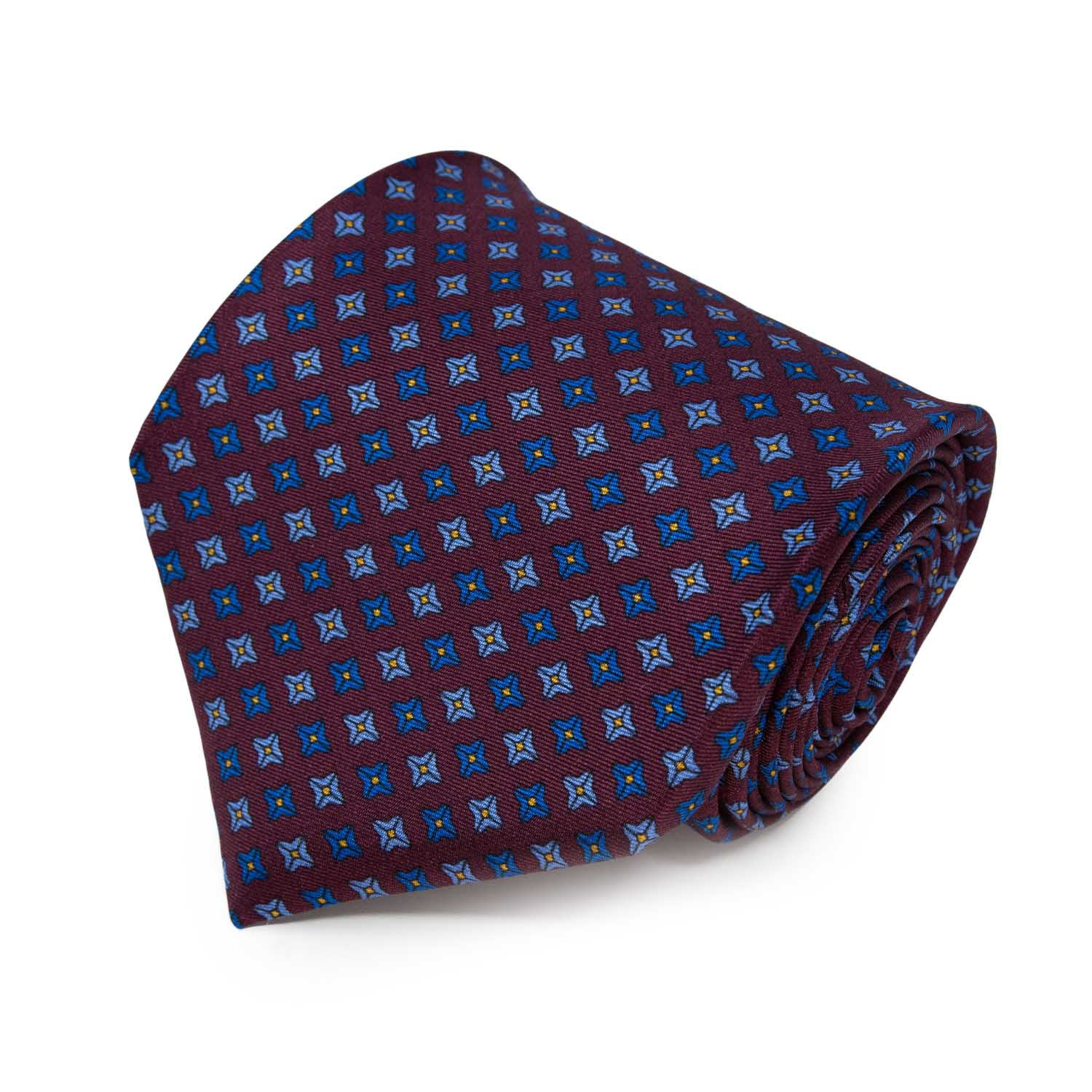 Burgundy with Blue and Grey Square Dots Pattern Silk Tie - serafinesilk