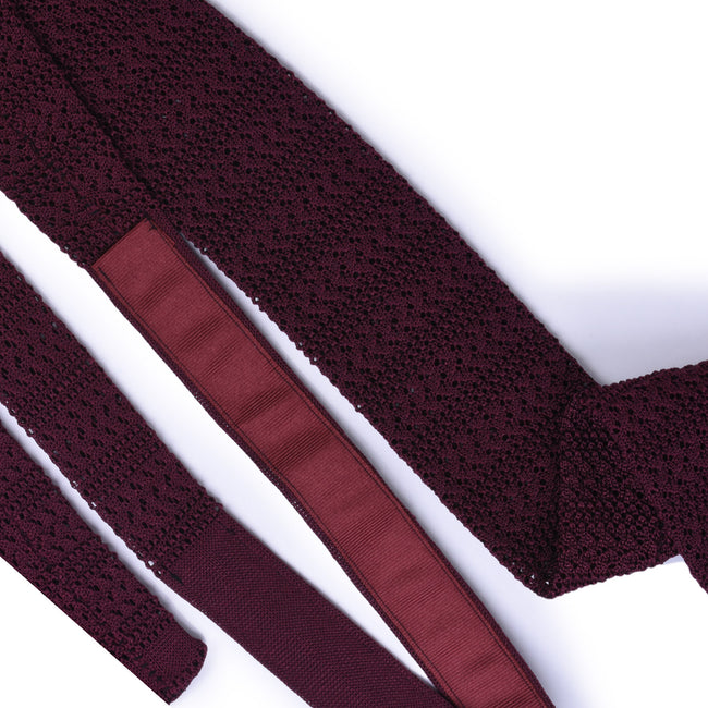 Burgundy striped knitted tie - serafinesilk