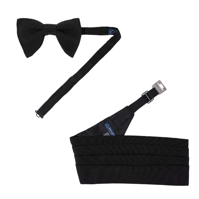 Pre-Tied Bow-tie and Cummerbund Black Silk Grosgrain Set - serafinesilk