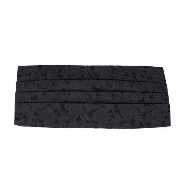 Black Jacquard Patterned Silk 4 Pleat Cummerbund - serafinesilk