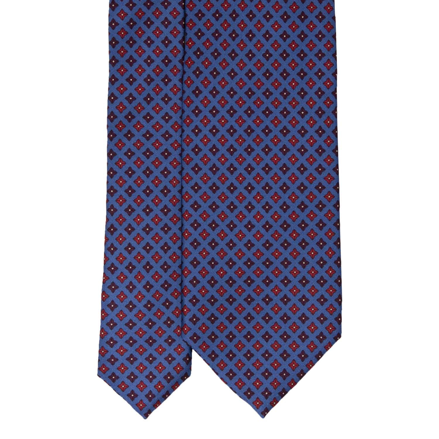 Dusty Blue with Red Square Dots Pattern Silk Tie