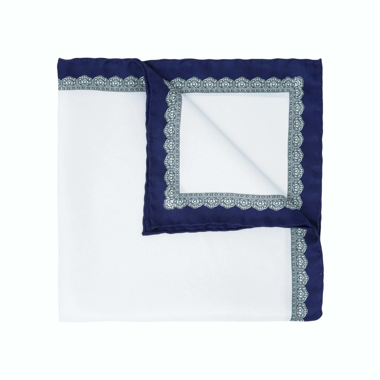 Navy Blue Essential silk pocket square - serà fine silk