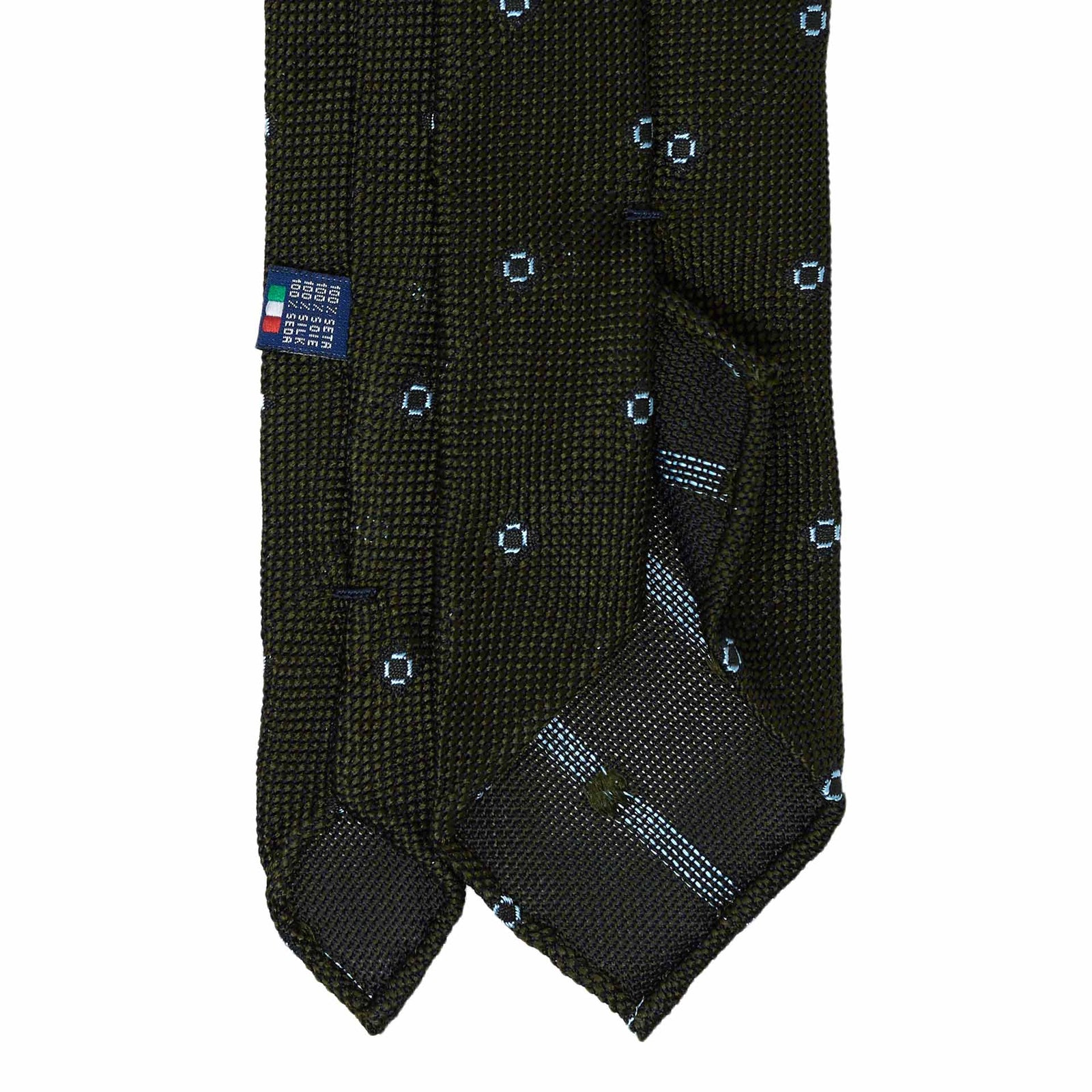 Green with Light Blue Dots Grenadine Silk Tie - serafinesilk