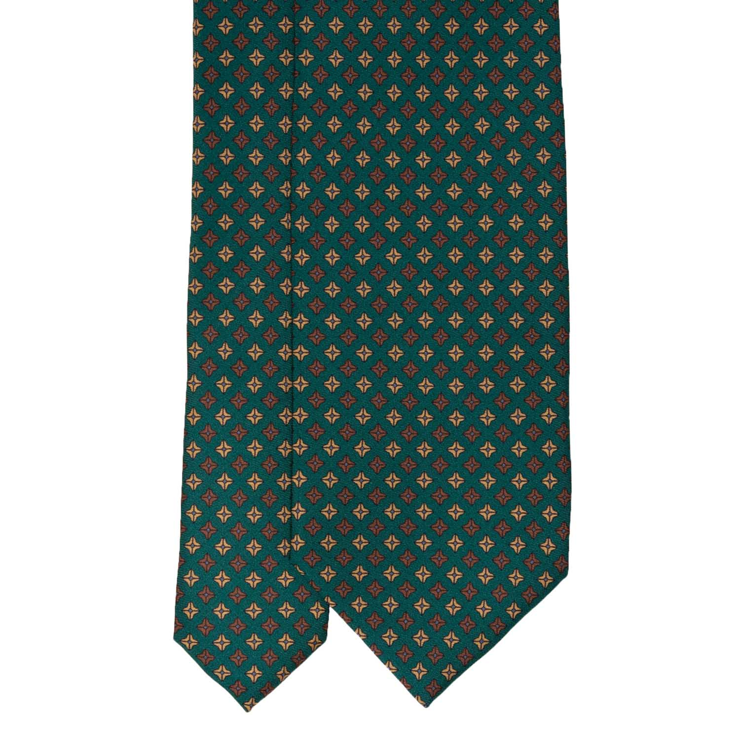 Green with Brown Square Dots Pattern Silk Tie - serafinesilk