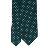 Forest Green with Light Blue Dots Pattern Silk Tie