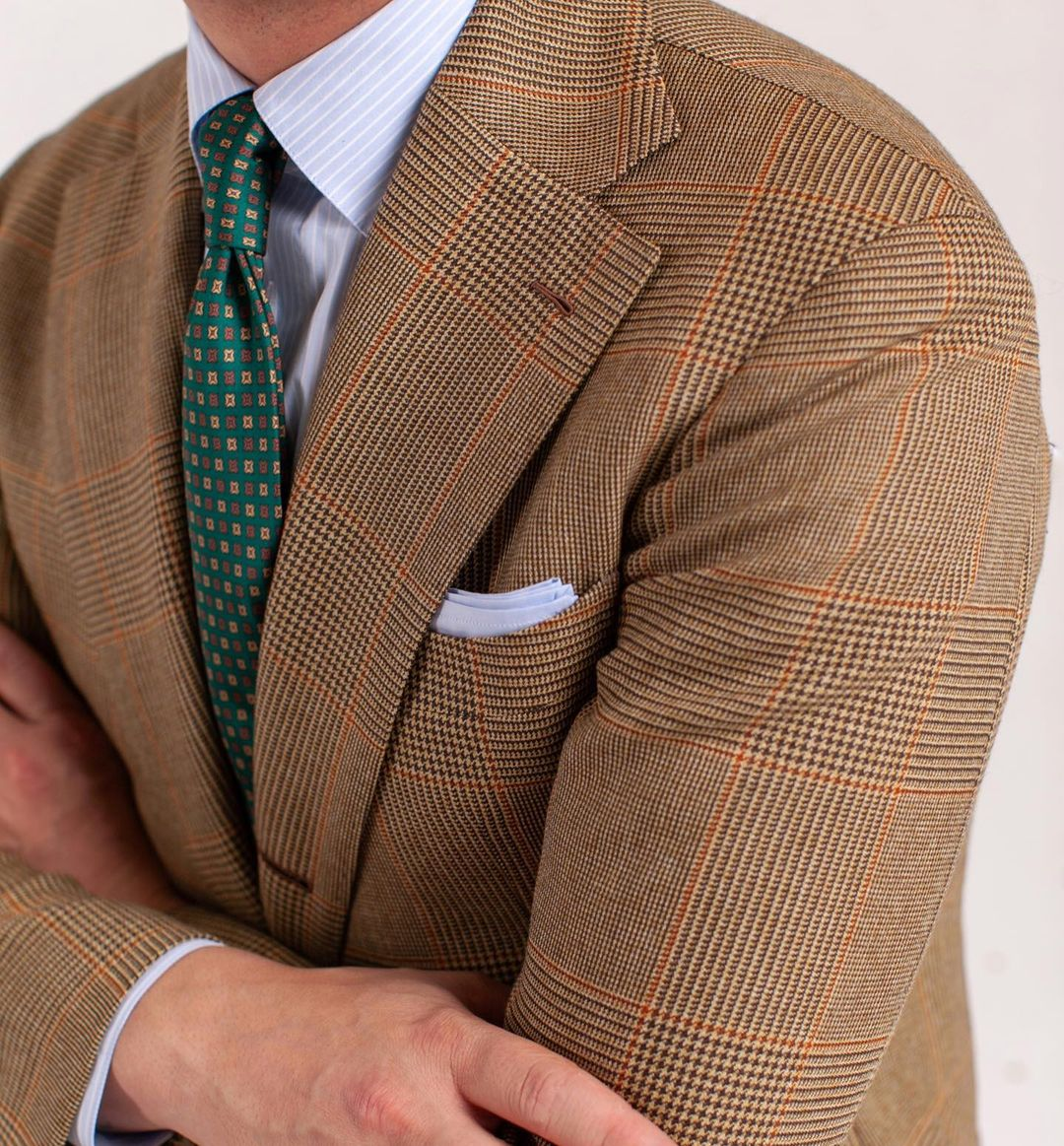 Green with Brown Square Dots Pattern Silk Tie