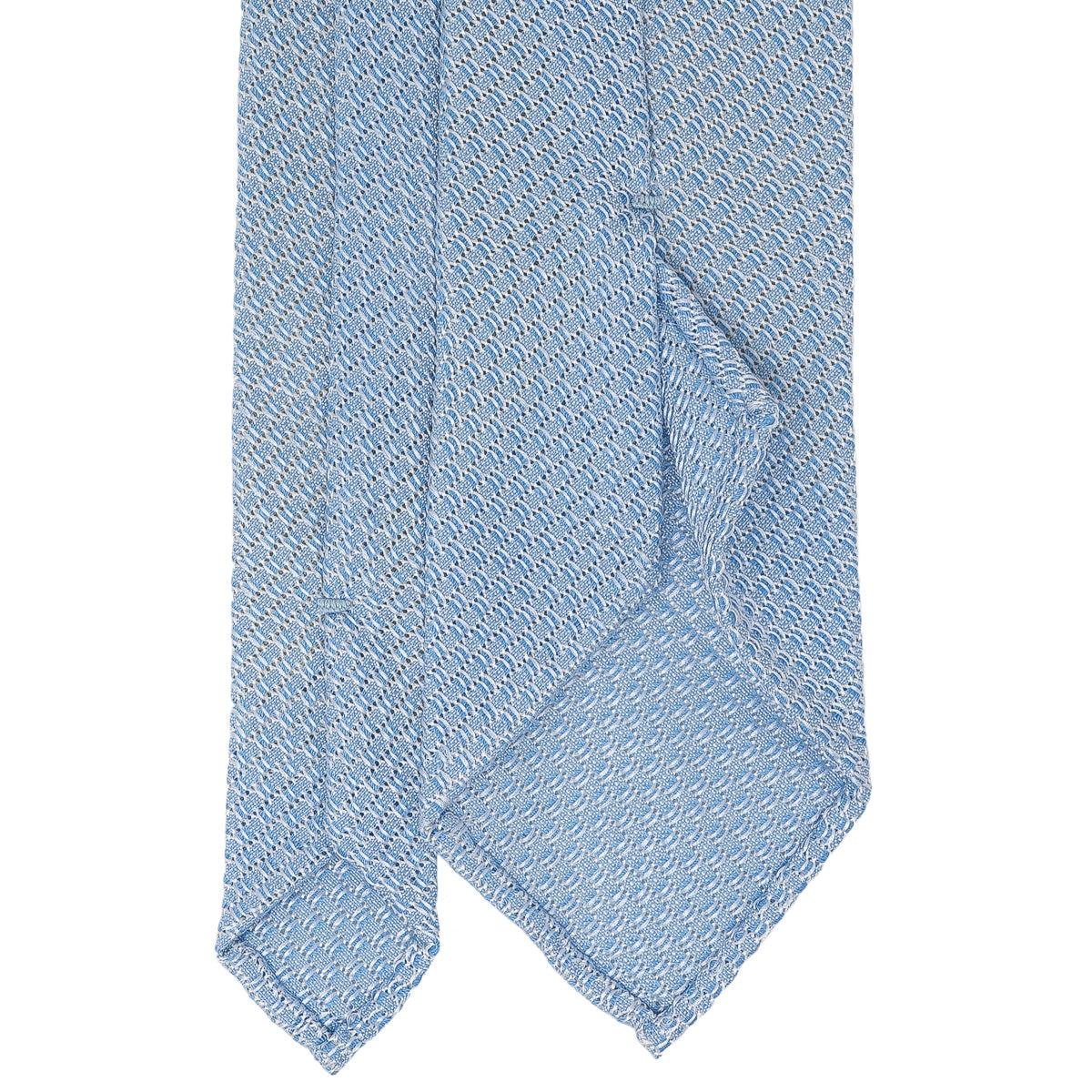 Light Blue Garza Grossa Grenadine Silk Tie - serafinesilk