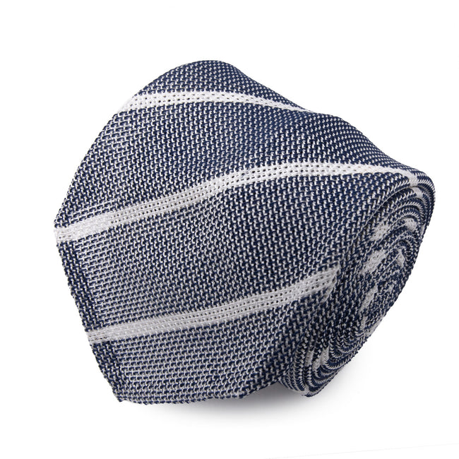 Grey Striped Grenadine Silk Tie - serafinesilk